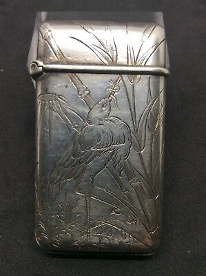 Aesthetic c1890 Solid Silver French Vesta Case Bird Catching Worm Maker EC Or EG