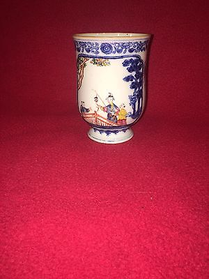 Antique 19th Century Chinese Export Porcelain Tankard Mug Bridge Scene