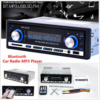 1Din Car In-dash Stereo Player Audio Bluetooth FM Radio Receiver SD USB MP3 AUX