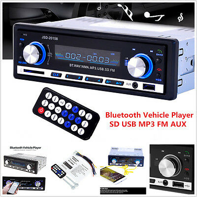 1DIN Bluetooth Car In-dash Stereo Audio Player FM Radio Receiver AUX USB MP3 SD