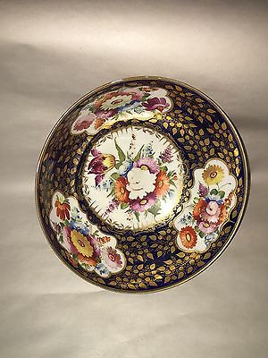 Antique English Porcelain Hand Painted Bowl Gilt Floral Decorated Ca. 1840