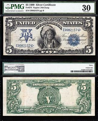 """AWESOME Bold & Crisp VF++ 1899 $5 """"INDIAN CHIEF"""" Silver Cert! PMG 30! E99821574"""