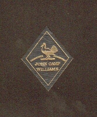 Leather Bookplate of John Camp Williams. Blue/gray and gold. Ruffed Grouse.