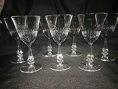 """Set 7 Tiffin Franciscan Silhouette 5.5"""" Clear Claret Wine Glasses Crystal Mint"""
