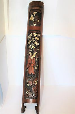 ANTIQUE ORIENTAL JAPANESE CARVED WOODEN SHIBIANA PANEL MOTHER OF PEARL GC c1880
