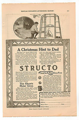 Original, 1916 -  Structo Advertisement - Build Working Models, Drawbridge, Toy