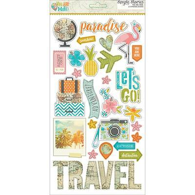 You Are Here Chipboard Stickers 6x12 Simple Stories Travel Summer Tropical