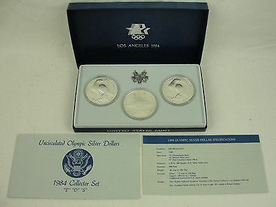 1984 Los Angeles Olympic Silver Dollar Collector Set - 3 UNC Silver Dollars COA