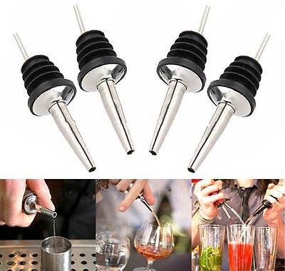 4 pack Stainless Steel Tapered Liquor Pourer Flow Wine oil Bottle Pour Spout Sto