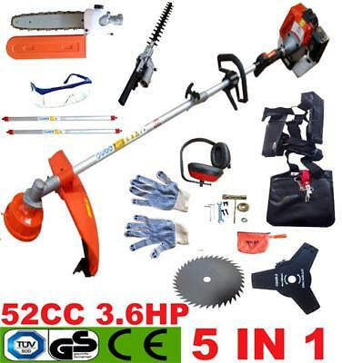 NEW 5 IN 1 52CC Petrol Grass Strimmer Brush Cutter Chainsaw Hedge Trimmer Garden
