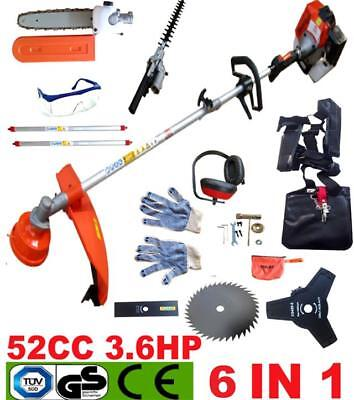 NEW 6 IN 1 52CC Petrol Grass Strimmer Brush Cutter Chainsaw Hedge Trimmer Garden