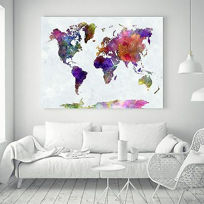 Abstract World Map Watercolor Silk Canvas Poster Fabric Paint Art Wall Decor 02A