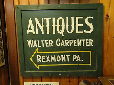Vintage Antiques Metal & Wood Framed Sign Walter Carpenter Rexmont, Pa.