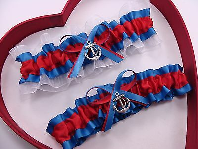 NEW Gorgeous Red Royal Blue White Wedding Garter Prom  Dance GetTheGoodStuff A+
