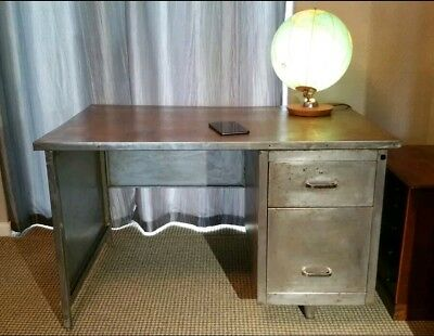 Stunning Steel Mid century Polished Desk Retro Chic Industrial