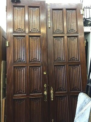 """Wood Double Doors 9'11"""" X70Front Doors Entry Doors carved Ribbons"""
