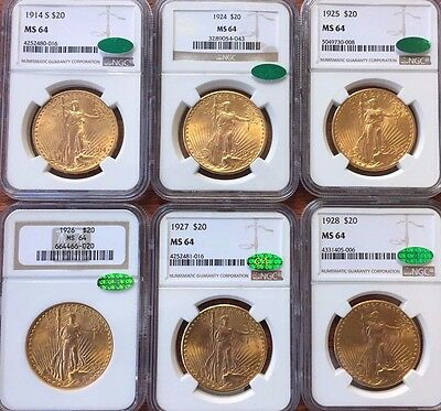 St Gaudens Ngc Ms64 Cac Approved Investor's Lot Of Six Coins-All Diffrent Dates