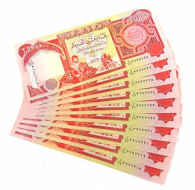 250,000 NEW Iraqi Dinar IQD 10 x 25K Sequential Notes - Free USPS Priority Mail