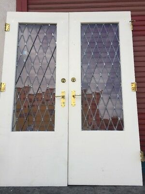 "Double French Doors With Leaded Glass Tutor Style 83"" X 64 Opening"