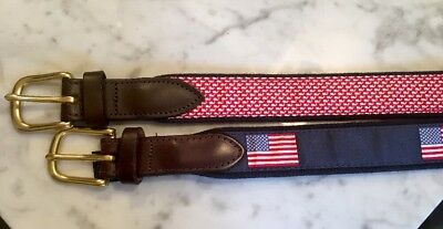 Lot of 2 VINEYARD VINES WHALE + AMERICAN FLAG CLUB BELTS BOYS SIZE 28 Excellent!