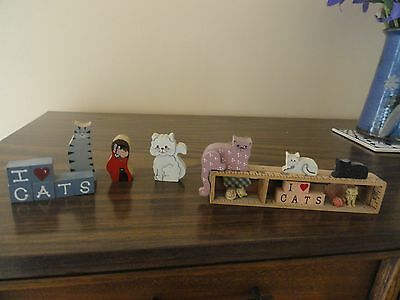 Lot Of 8 Mini Wooden Cat Collectible Figurines
