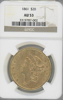 1861 Liberty Head $20 Gold Double Eagle Graded Au53  By Ngc