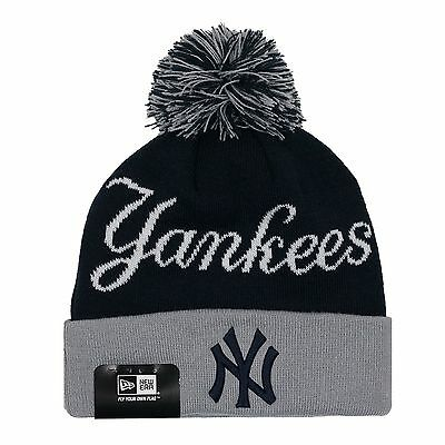 54ce25c33 MLB NEW ERA Heather Spec New York Yankees Cuffed Knit Beanie Pom Pom ...