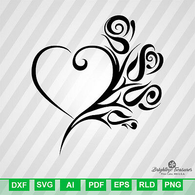 Tribal Heart Roses - DXF SVG EPS RLD RDWORKS PDF AI VECTOR FILES SILHOUETTE