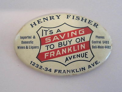 Advertising Pocket Mirro for Harry Fisher Wines & Liquors / FREE Shipping