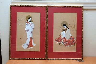 A Pair Of Antique Vintage Japanese Hand Painted Framed Painting