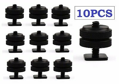 """10 x New 1/4""""- 20 Tripod Screw to Flash Shoe Mount Adapter for Monitor Bracket"""