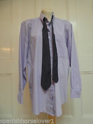 Taylor & Butler-Lavender-Mens Business Shirt-Vintage Tie-Buttondown-37cm Size S
