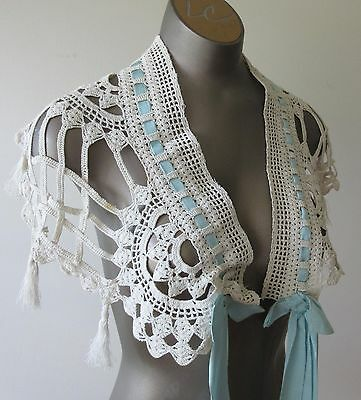 Antique Vintage Victorian Lace Collar with Grosgrain Ribbon