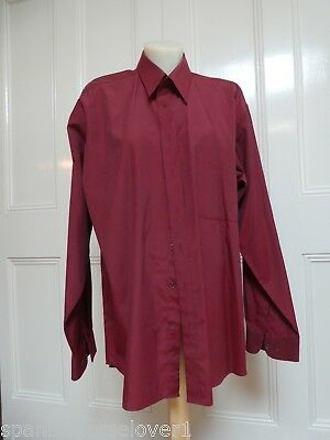 Bisley-Burgundy-Classic Mens Business Shirt-Long Sleeved-Size 41cm