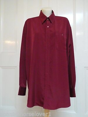 Free Spirit-Burgundy-Mens Microfibre Business Shirt-Long Sleeved-Size L