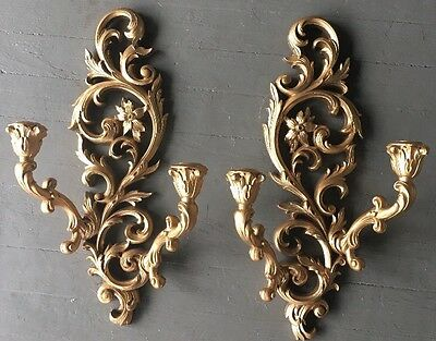 Pair Of Gold HOMCO SYROCO BURWOOD Double Arm Sconces Wall Candle