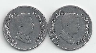 2 DIFFERENT 5 PIASTRE COINS from JORDAN DATING 2006 & 2008