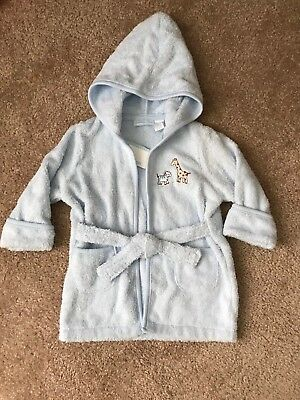 First Impressions Baby Boy Blue Terry Cloth Bath Robe Size 0-9 Months