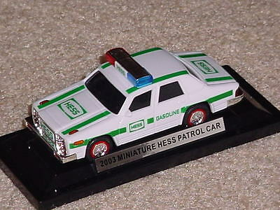 New Hess Gasoline And Oil 2003 Small Patrol Car With Lights On Base