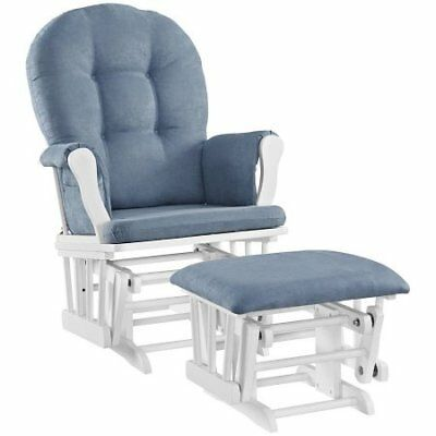 Angel Line Windsor Glider with Ottoman, White with Blue C W