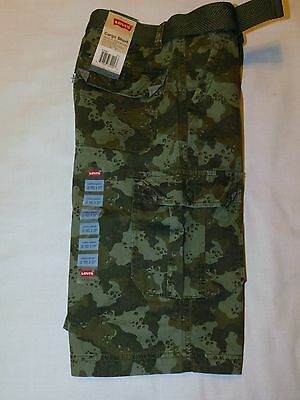 """New Boy's Levi's Relaxed Fit Camo Cargo Shorts 28"""" Waist Size 18"""