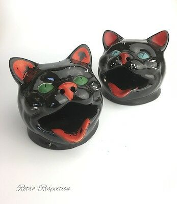 MIDCENTURY Kitsch Wembley Ware Cat Ashtrays - Pair - Green & Blue Eyes