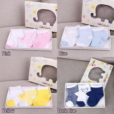 3 Pairs Cute Baby Kids Toddler Soft Cotton Infant Anti Slip Socks Classic HY