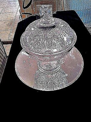 "Vintage EAPG  Pressed Glass Compote with Fitchy Cross 11"" H X 9"" wide"