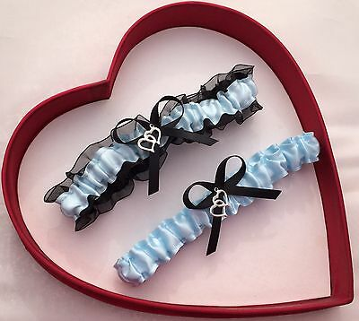 NEW Bridal Wedding Garters Light Blue Black Prom GetTheGoodStuff