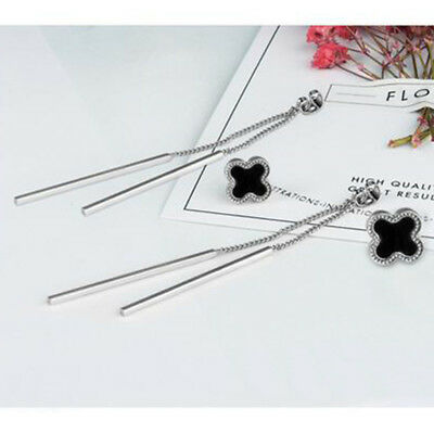 Womens Lady 925 Silver Plated Four Leaf Clover Hypoallergenic Tassel Earrings h2