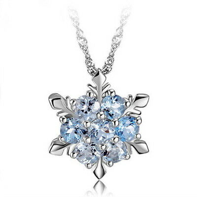Girl Silvering Crystal Blue Frozen Princess Elsa Snowflake Pendant Necklace New