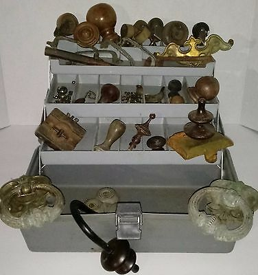 LOT 34 Antique Vintage Furniture Door Hardware Finials Knobs Wheel Casters Pulls