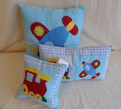 Gorgeous Boys Set Of Three Cushions- Trains & Planes- Brand New