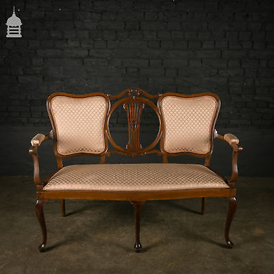 Edwardian Mahogany Saloon Settee with Cabriole Legs